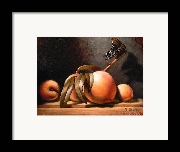 Butterfly Framed Print featuring the painting Peaches And Butterfly by Timothy Jones