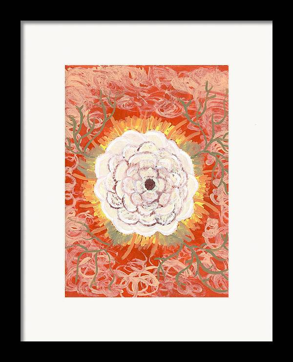 Flower Framed Print featuring the painting Peaches And Cream by Laura Lillo