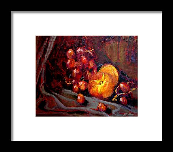 Fruit Framed Print featuring the painting Peaches And Grapes by Brian Simons