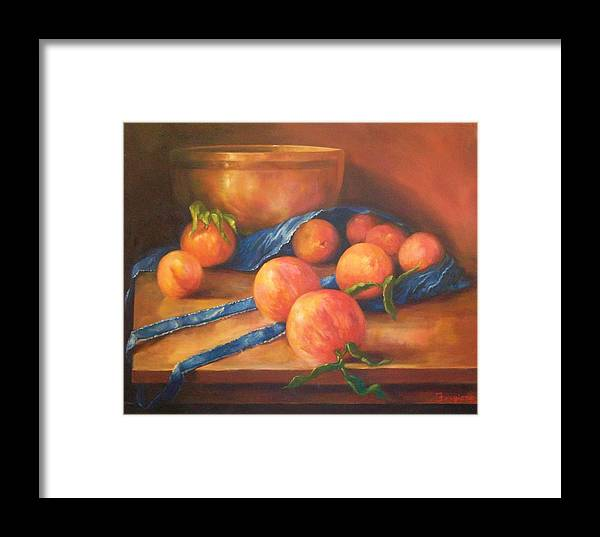 Peaches Framed Print featuring the painting Peaches With Apron by Tom Forgione