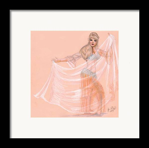Belly Dancer Framed Print featuring the drawing Peachy Dancer by Scarlett Royal