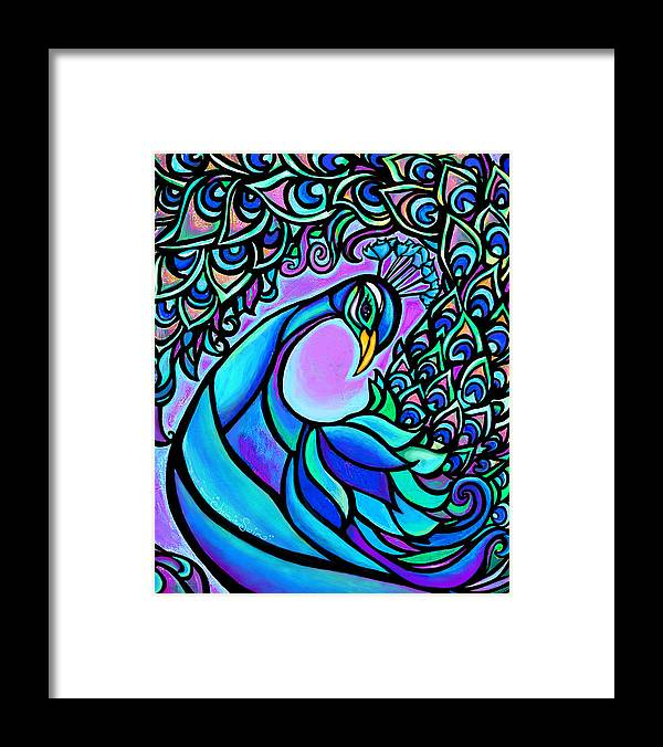 Peacock Framed Print featuring the mixed media Peacock by Jamie Swim