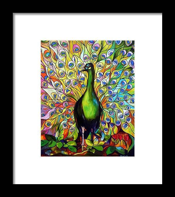 Bird Framed Print featuring the painting Peacock by Jose Manuel Abraham