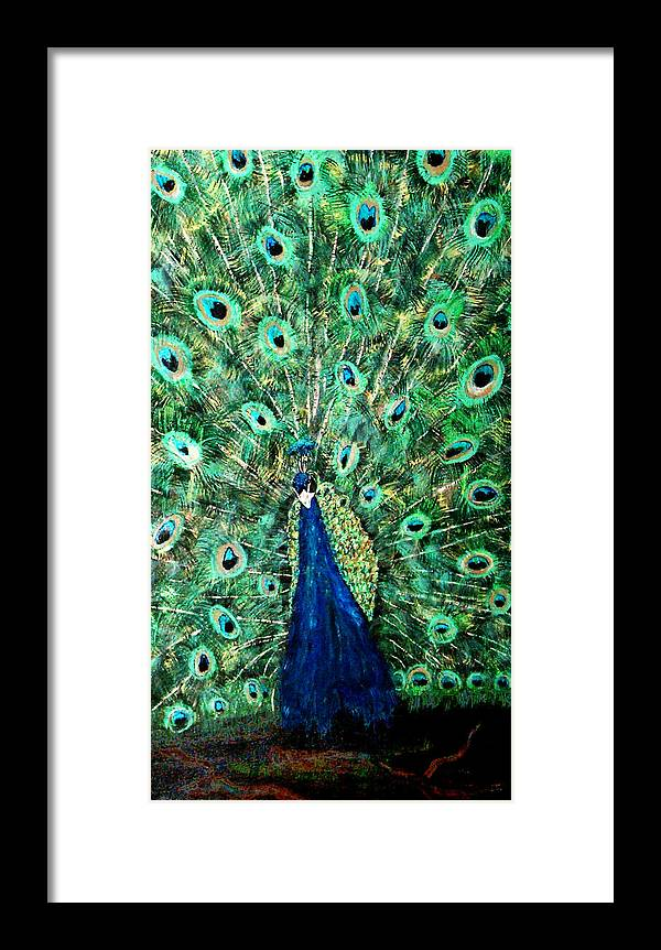 Peacock Framed Print featuring the painting Peacock by Mikki Alhart