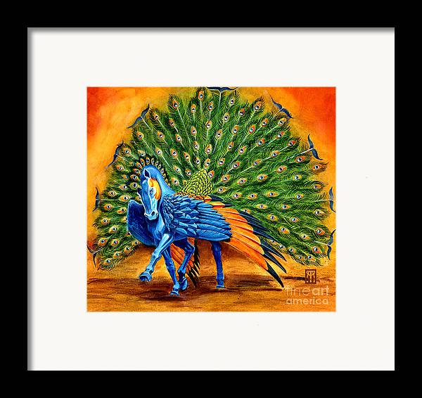 Horse Framed Print featuring the painting Peacock Pegasus by Melissa A Benson