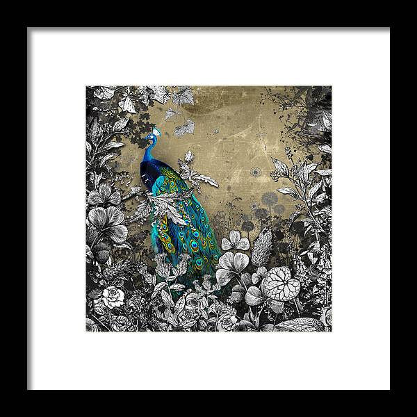 Peacock Framed Print featuring the mixed media Peacock Pop Up Book Illustration by Carly Ralph