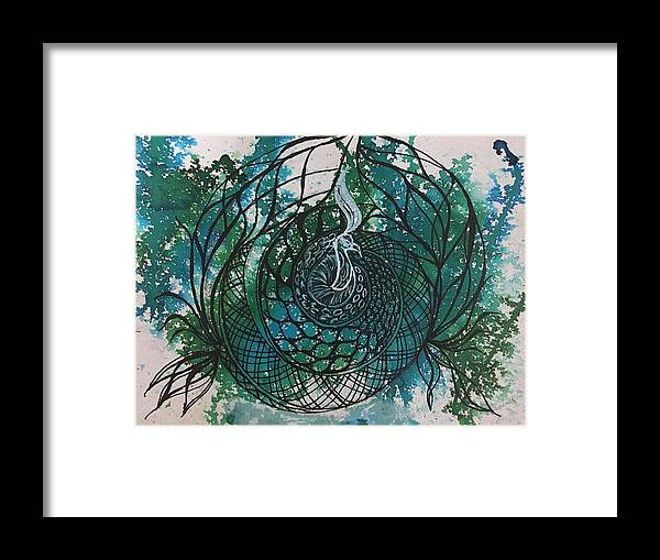 Lotus Framed Print featuring the painting Peacock by Sonal Kanakdande