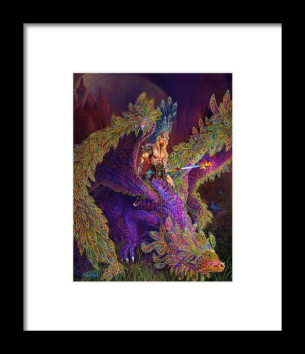 Dragon Fantasy Art Framed Print featuring the painting Peacok Dragon by Steve Roberts