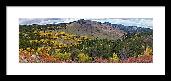 Colorful Framed Print featuring the photograph Peak To Peak Highway Boulder County Colorado Autumn View by James BO Insogna