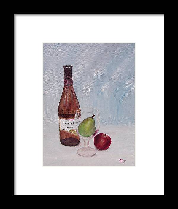 Still Life Framed Print featuring the painting Pear In Glass by Tony Rodriguez