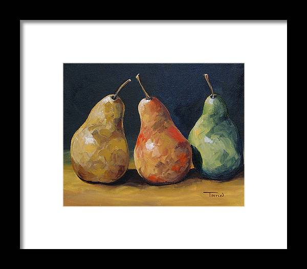 Pear Framed Print featuring the painting Pear Trio by Torrie Smiley