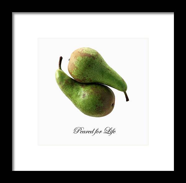 Pears Wedding Fruit Anniversary Engagement Framed Print featuring the photograph Peared For Life by Jon Daly