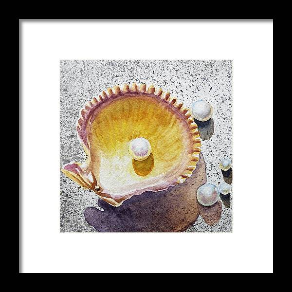 Seashell Framed Print featuring the painting Pearl In The Seashell by Irina Sztukowski