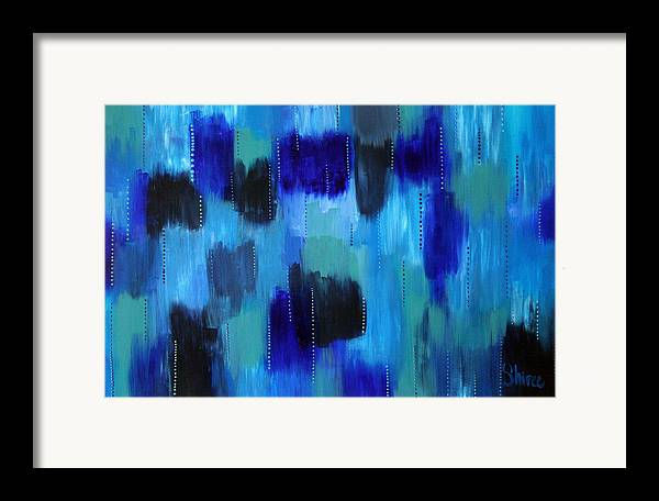 Abstract Paintings Framed Print featuring the painting Pearl Raindrops by Shiree Gilmore