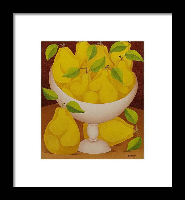 Sacha Circulism Toothpick Art Framed Print featuring the painting Pears  2007 by S A C H A - Circulism Technique