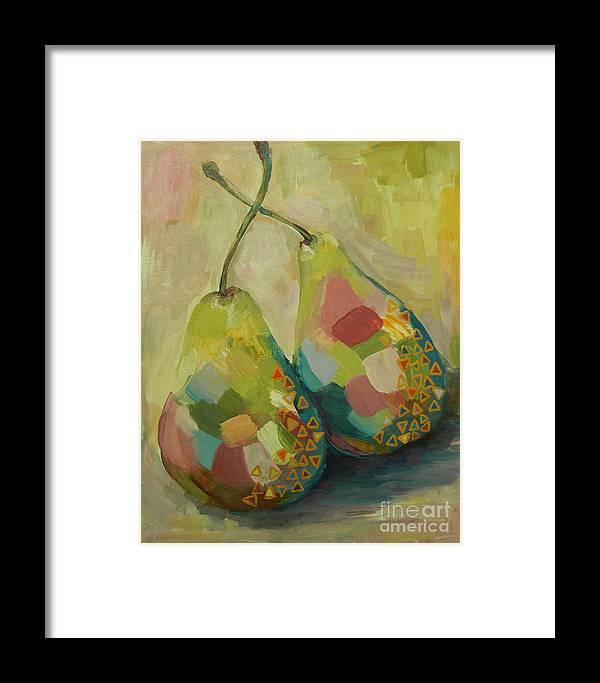 Pears Framed Print featuring the painting Pears A La Klimt by Ruta Naujokiene