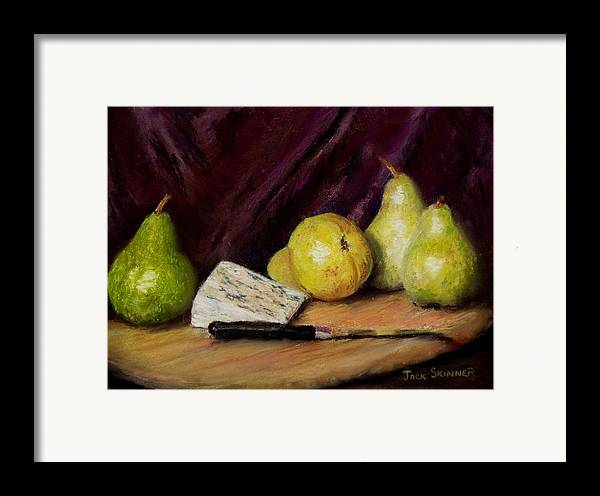 Still Life Framed Print featuring the pastel Pears And Cheese by Jack Skinner
