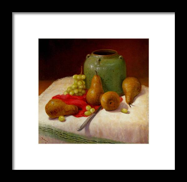 Realism Framed Print featuring the painting Pears And Grapes by Donelli DiMaria