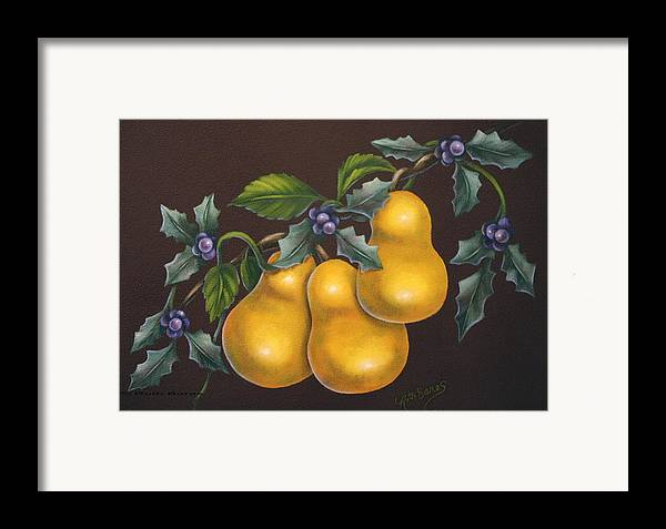 Still Life Framed Print featuring the painting Pears And Holly by Ruth Bares