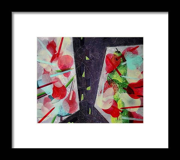 Still Life Framed Print featuring the painting Pears And Pencils by Evguenia Men