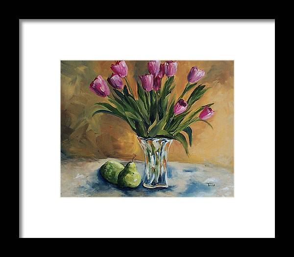 Tulips Framed Print featuring the painting Pears And Pink Tulips by Torrie Smiley
