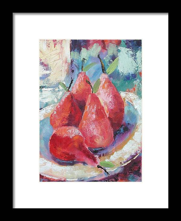Pears Framed Print featuring the painting Pears by Ginger Concepcion