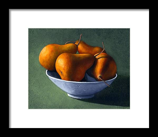 Still Life Framed Print featuring the painting Pears in Blue Bowl by Frank Wilson