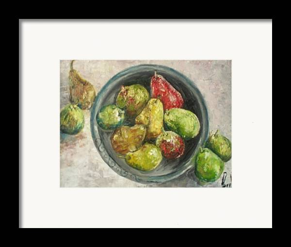 Framed Print featuring the painting Pears In Bowl by Carol P Kingsley