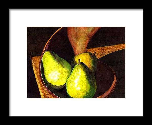 Still Life Framed Print featuring the painting Pears No 1 by Catherine G McElroy