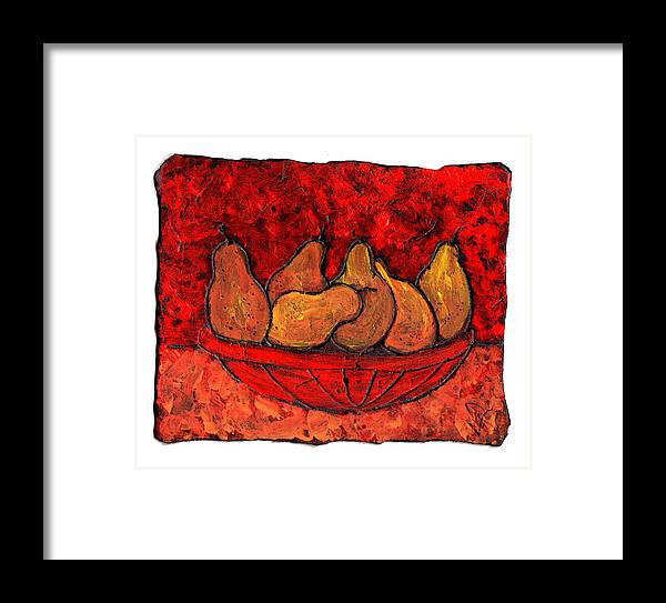 Food And Drink Framed Print featuring the painting Pears On Fire by Wayne Potrafka