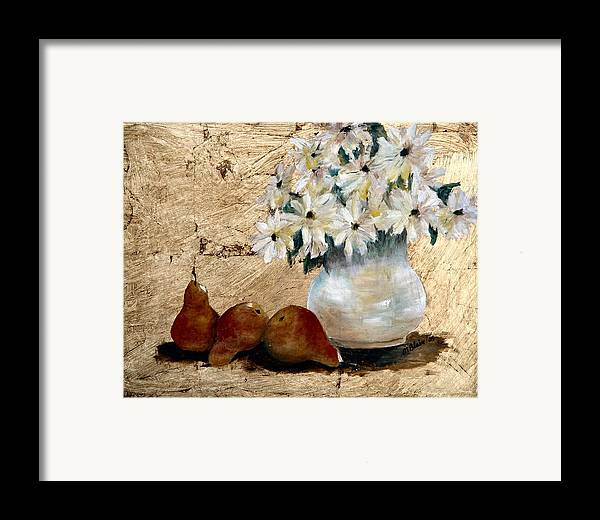 Fruit Framed Print featuring the painting Pears On Gold by Merle Blair