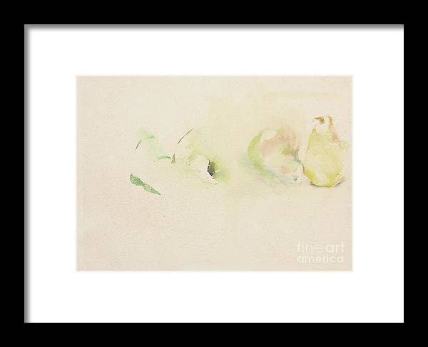 Watercolor Painting Framed Print featuring the painting Pears Two by Daun Soden-Greene