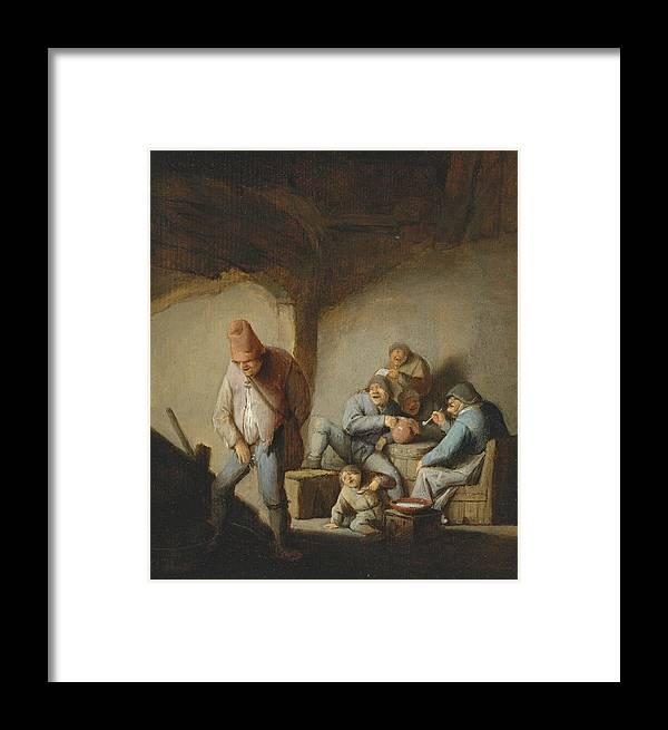 Adriaen Van Ostade Framed Print featuring the painting Peasants In The Interior Of An Inn by Adriaen van Ostade