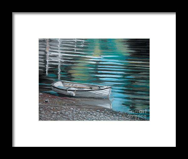 Boat Framed Print featuring the pastel Pebbles by Synnove Pettersen
