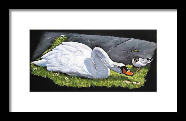 Swan Framed Print featuring the painting Pecking Order by Vanda Luddy