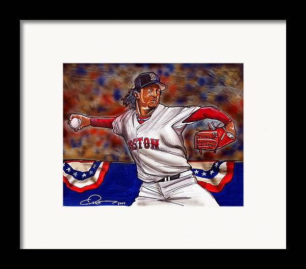 Pedro Martinez Framed Print featuring the painting Pedro Martinez by Dave Olsen