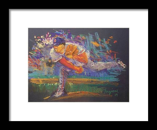 Baseball Framed Print featuring the pastel Pedro by Tom Forgione
