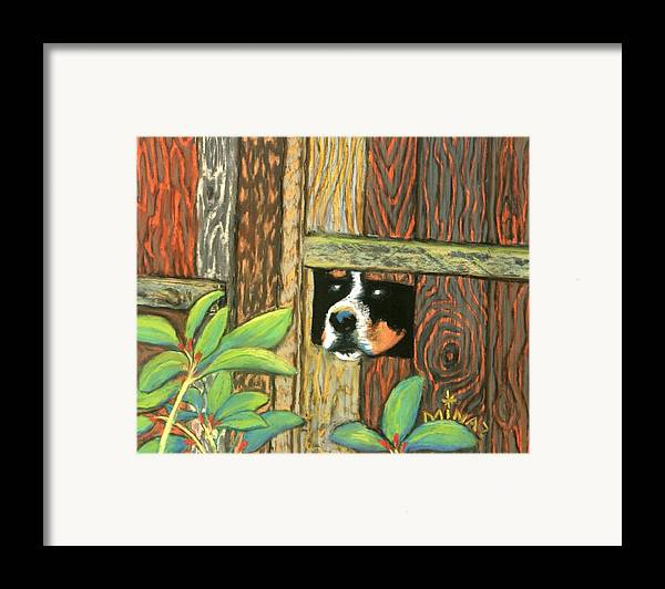 Dog Framed Print featuring the painting Peek-a-boo Fence by Minaz Jantz