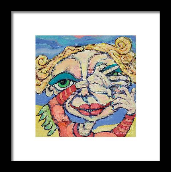 Circle Heads Art Framed Print featuring the painting Peek-a-boo by Michelle Spiziri