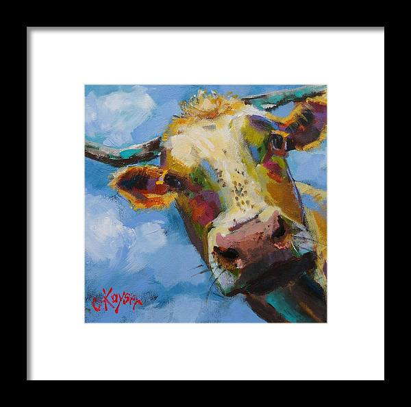 Cow Framed Print featuring the painting Peek A Moo by Claire Kayser