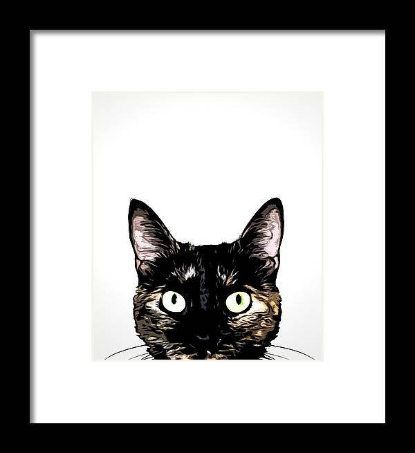 Cat Framed Print featuring the mixed media Peeking Cat by Nicklas Gustafsson