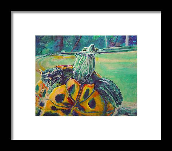 Turtle Framed Print featuring the painting Peeking by Gail Wartell