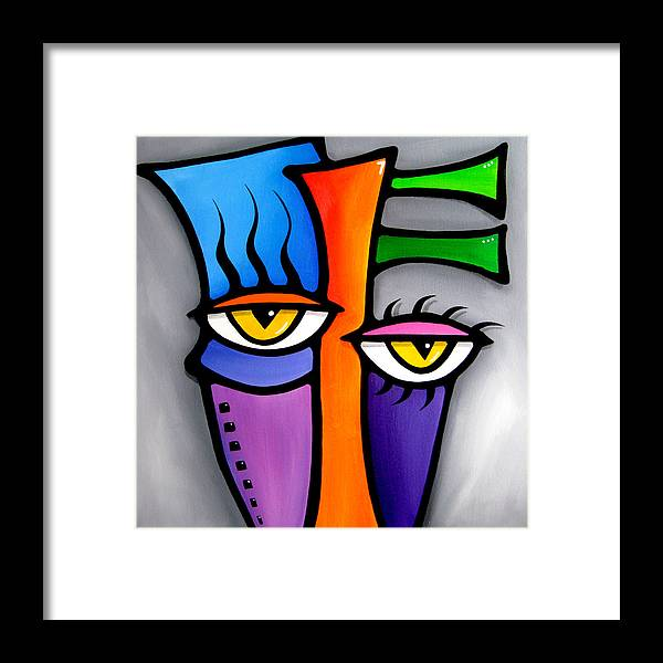 Pop Art Framed Print featuring the painting Peepers by Tom Fedro - Fidostudio