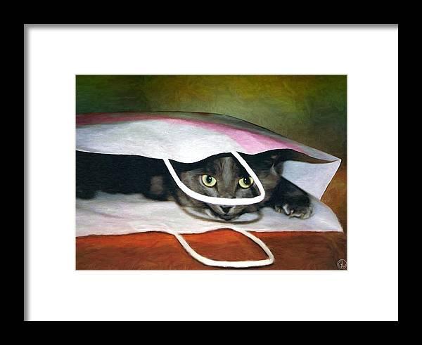 Cat Framed Print featuring the digital art Peeping Out by Gun Legler