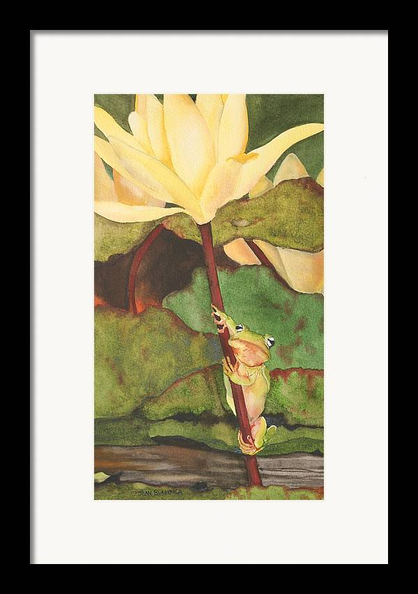 Frog Framed Print featuring the painting Peeping Tom by Jean Blackmer
