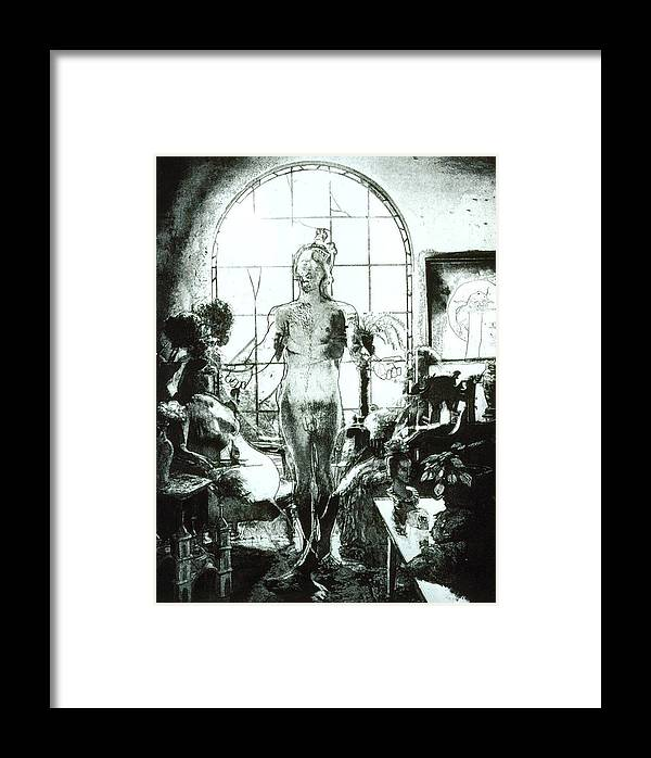 Nude Framed Print featuring the mixed media Peggy And Ed by Randy Sprout