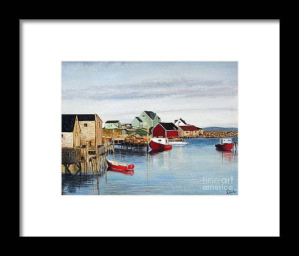 Seascape Framed Print featuring the painting Peggy's Cove by Donald Hofer