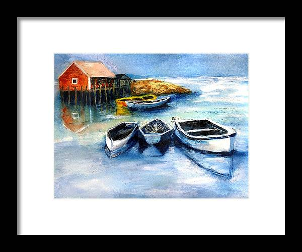 Fish Framed Print featuring the painting Peggys Cove Frozen In Chance of Snow by Randy Sprout