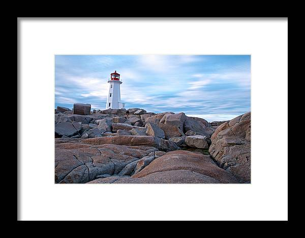 Nova Scotia Framed Print featuring the photograph Peggy's Cove Lighthouse by Andre Distel