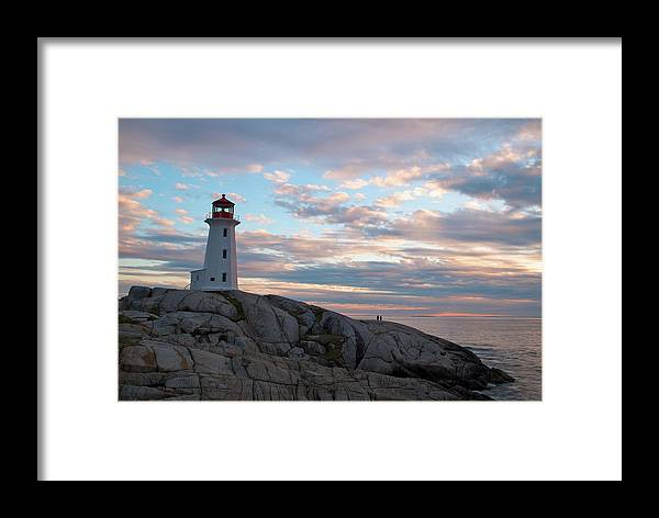Nova Scotia Framed Print featuring the photograph Peggys Cove Lighthouse At Dusk by Andre Distel